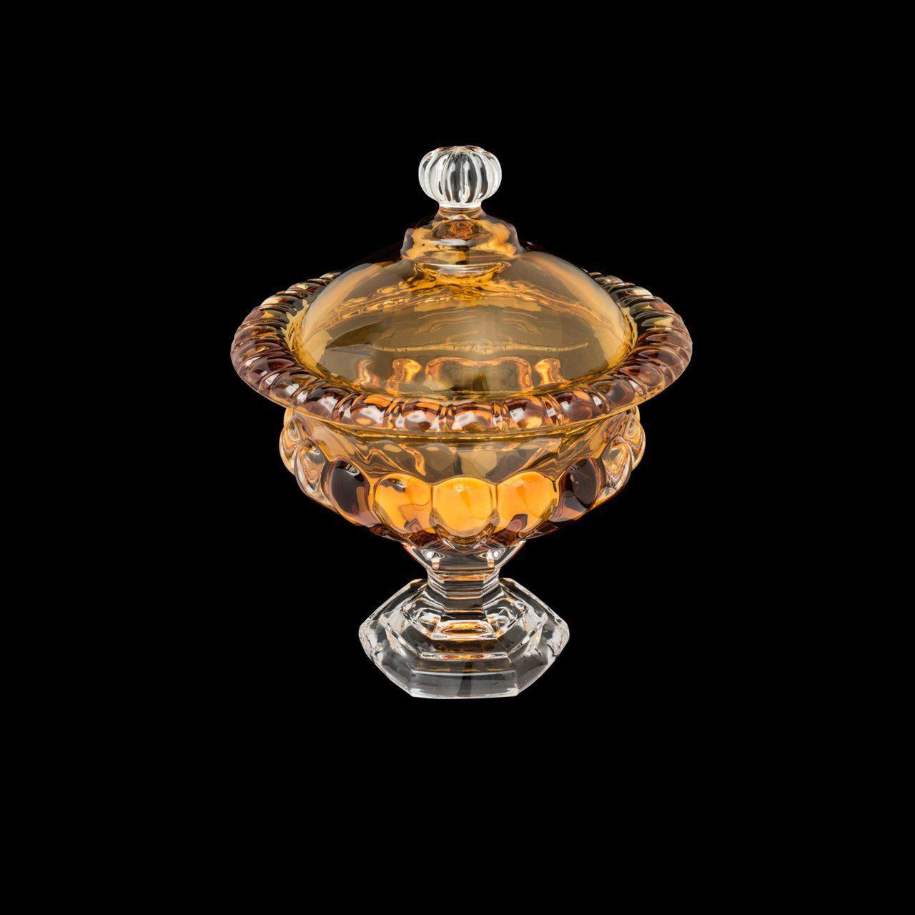 Bomboniere 16 cm de cristal âmbar com pé e tampa Sussex Wolff - 26454