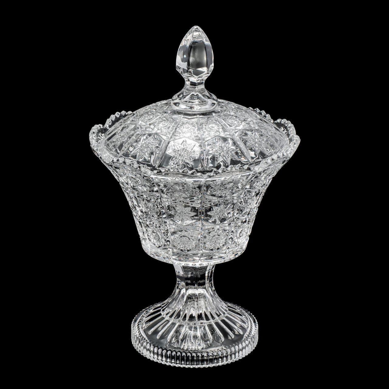 Bomboniere 28 cm de cristal transparente com tampa e pé Starry Wolff - 25548