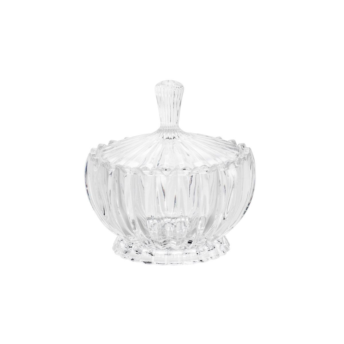 Bomboniere 17,5 cm de cristal transparente com tampa Geneva Wolff - 25530