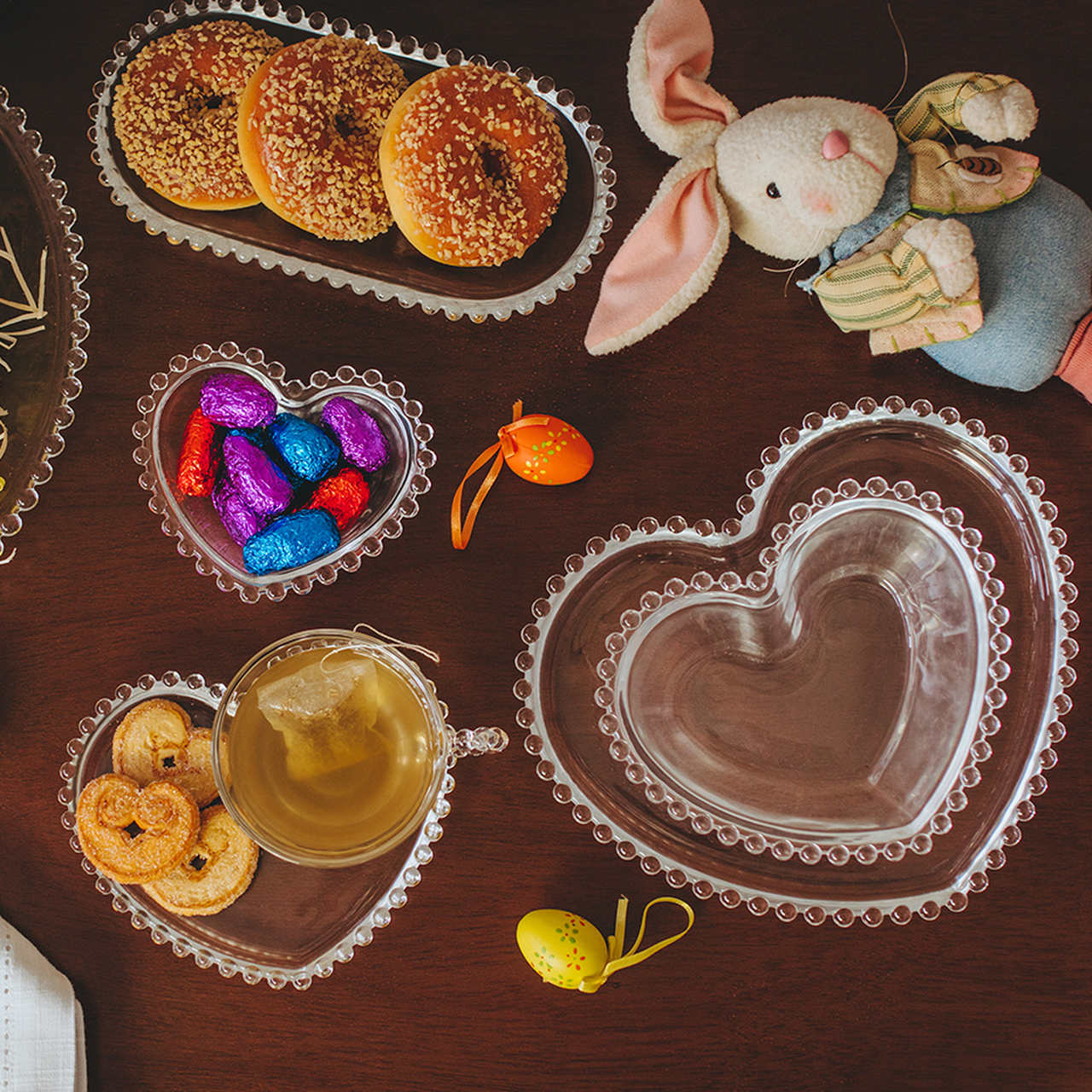 Bowl 18 cm para sobremesa de cristal coração Pearl Wolff - 28377