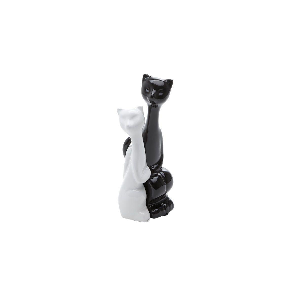 Estatueta 19 cm de cerâmica branco e preto Casal Gatos Amorosos Prestige - 2796