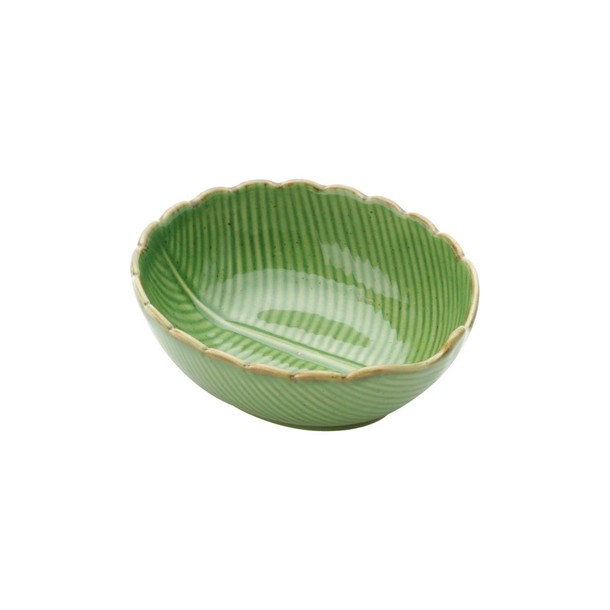 Centro de mesa 11,5 x 10 cm de cerâmica verde Banana Leaf Lyor - L4132