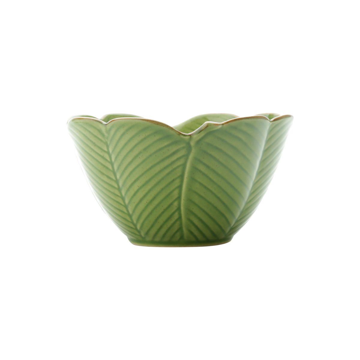 Centro de mesa 16 cm de cerâmica verde Banana Leaf Lyor - L4134