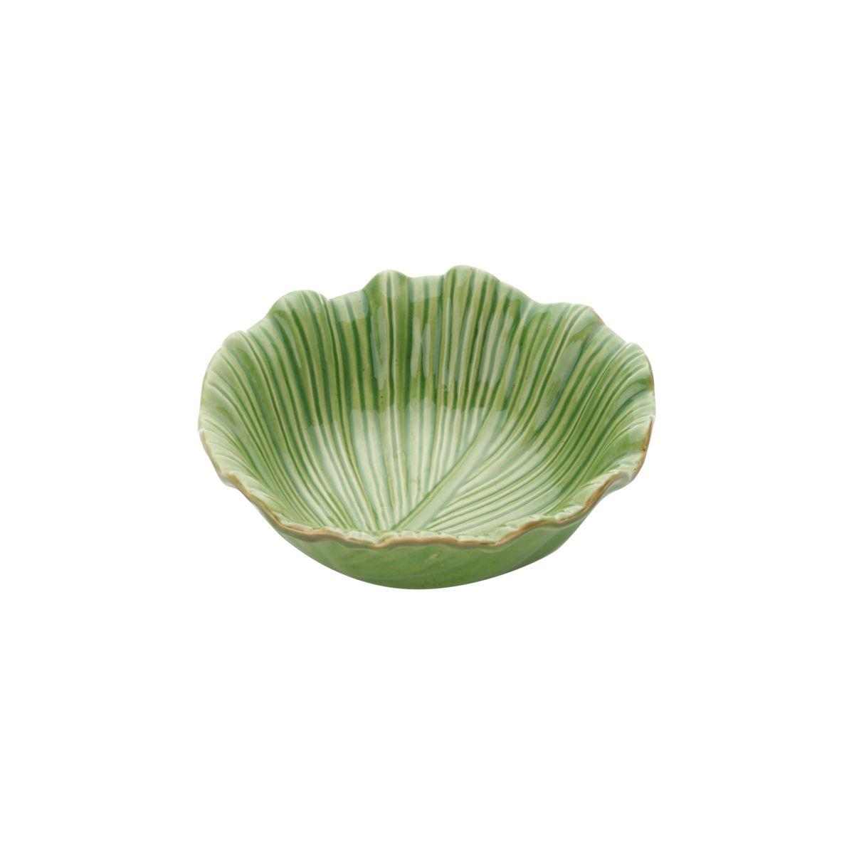 Centro de mesa 17,5 cm de cerâmica verde Banana Leaf Lyor - L4126