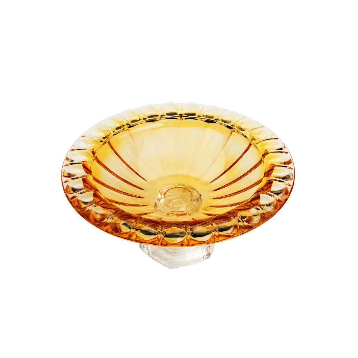 Centro de mesa 33 cm de cristal âmbar com pé Sussex Wolff - 26456
