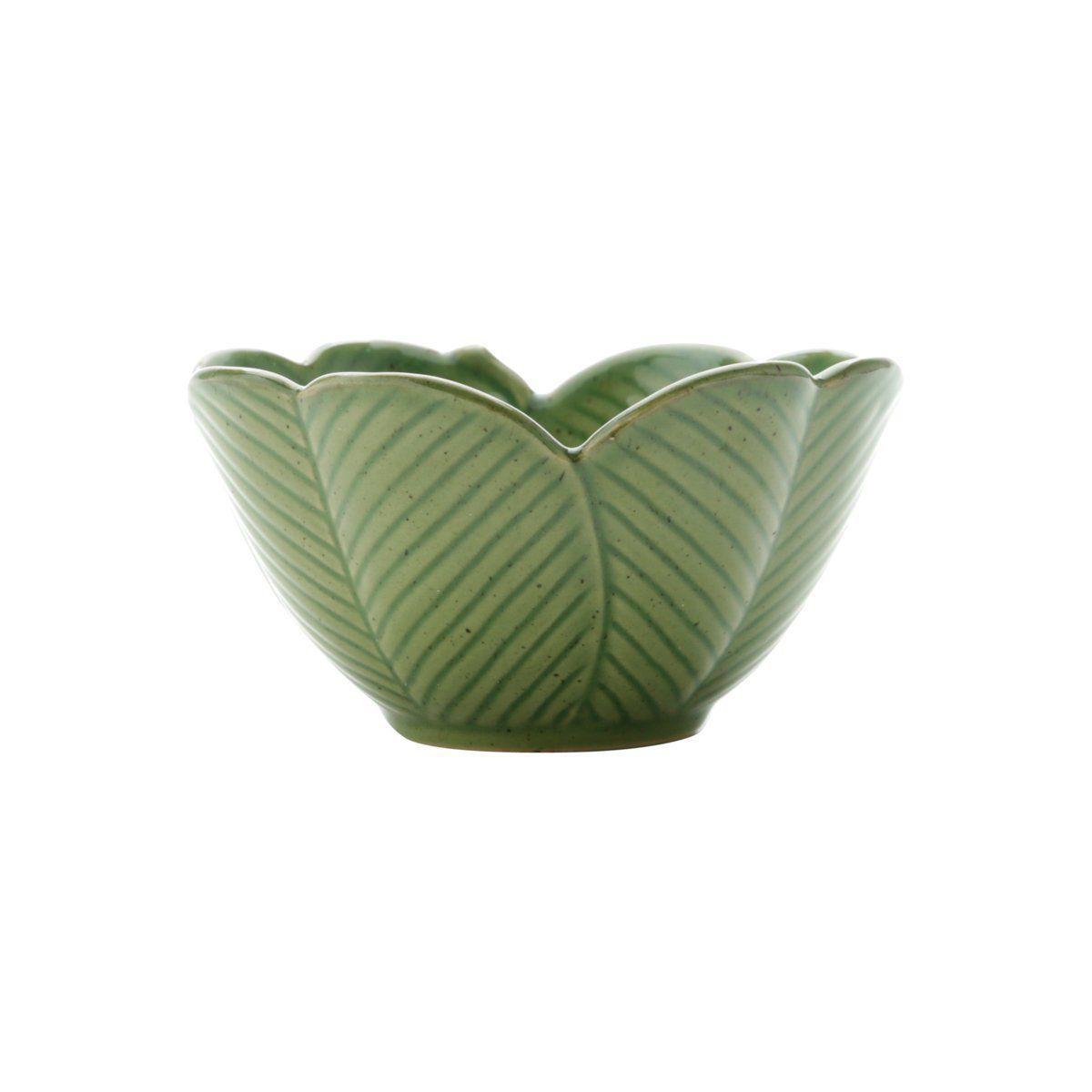 Centro de mesa 13 cm de cerâmica verde Banana Leaf Lyor - L4133