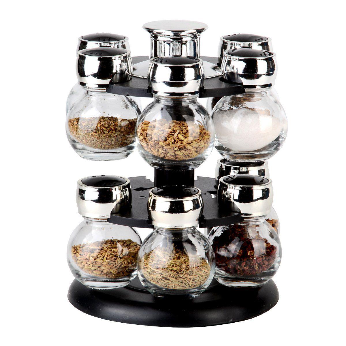 Conjunto 13 peças porta temperos de vidro com tampa de plástico e base giratória preta Poli Bon Gourmet - 26888