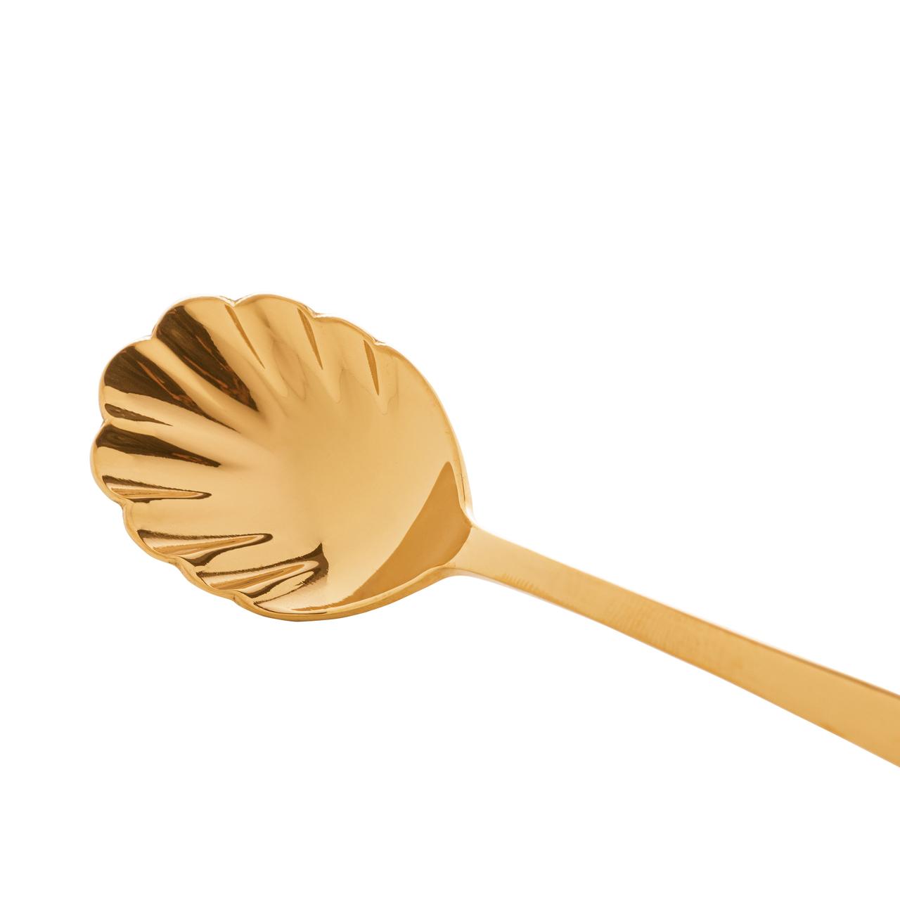 Conjunto 2 Colheres para açúcar de aço inox Berna dourado Wolff - 71705