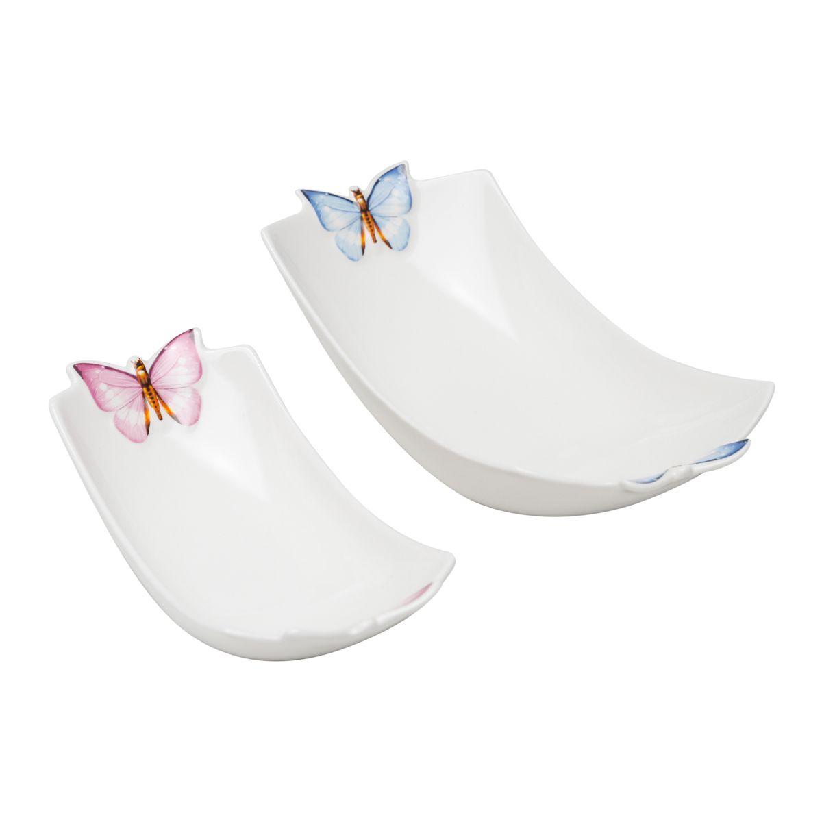 Conjunto 2 Travessas 24 cm e 18 cm de porcelana Borboletas Wolff - 25040