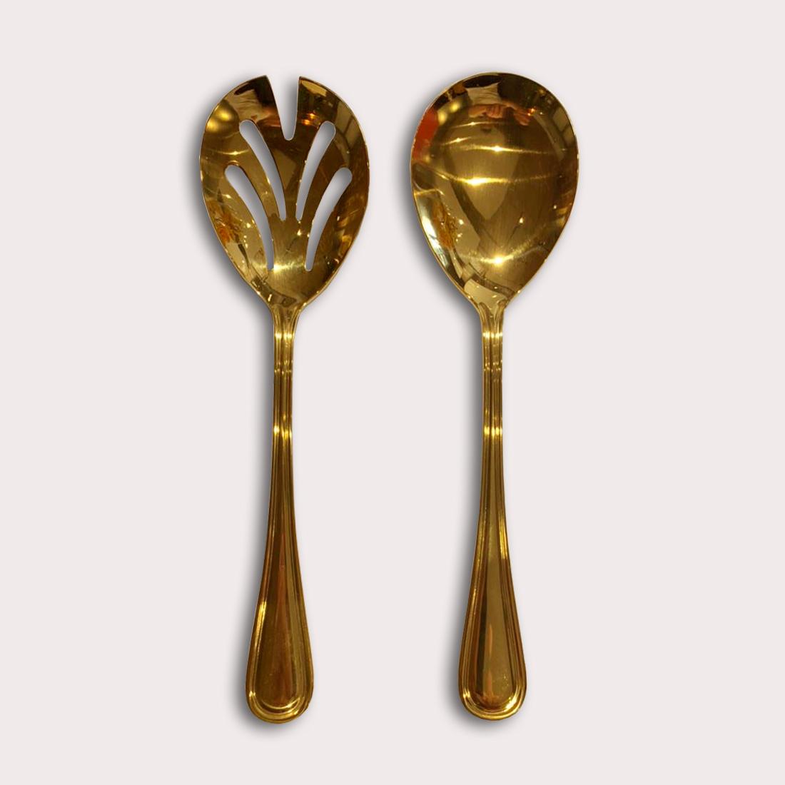 Conjunto 2pç Colher e Garfo para salada de aço inox Avalon dourado Wolff - 71724