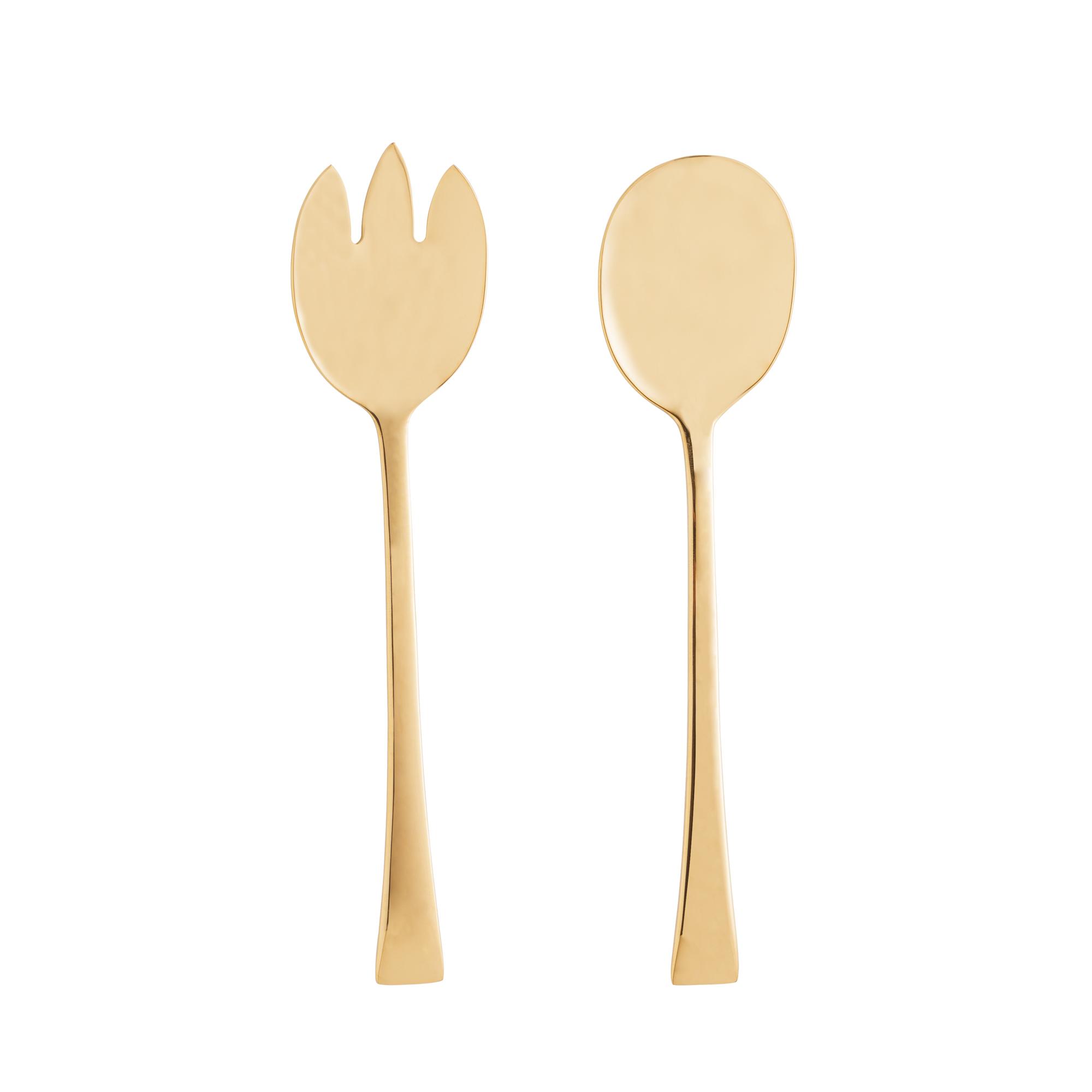 Conjunto 2pç Colher e Garfo para salada de aço inox Berna dourado Wolff - 71697