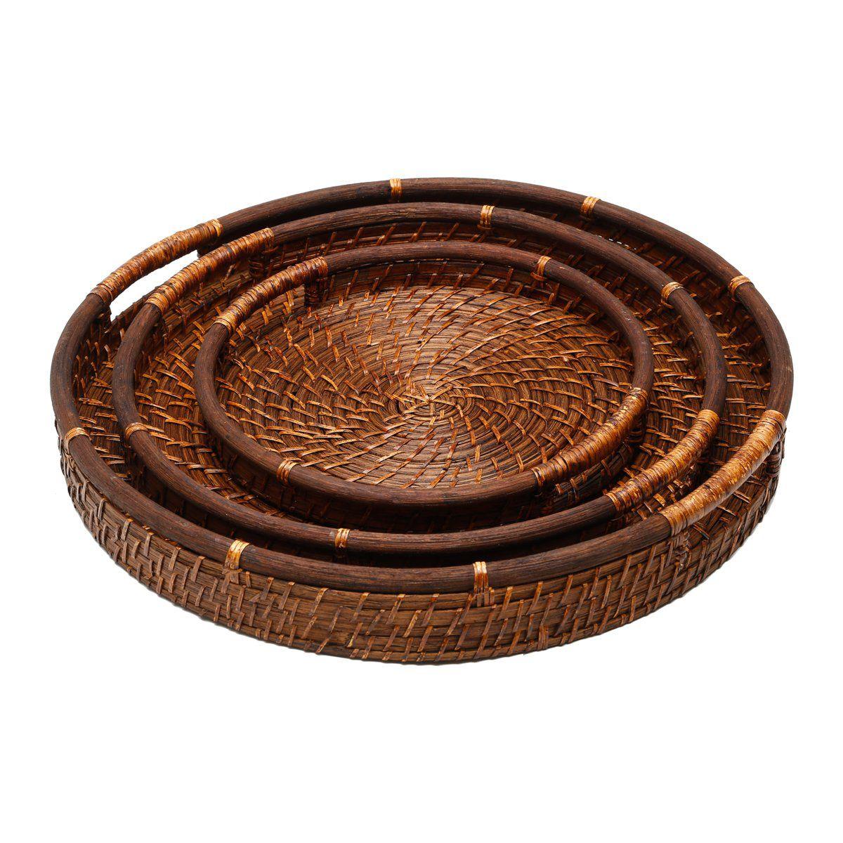 Conjunto 3 bandejas de rattan Oval Bon Gourmet - 1053