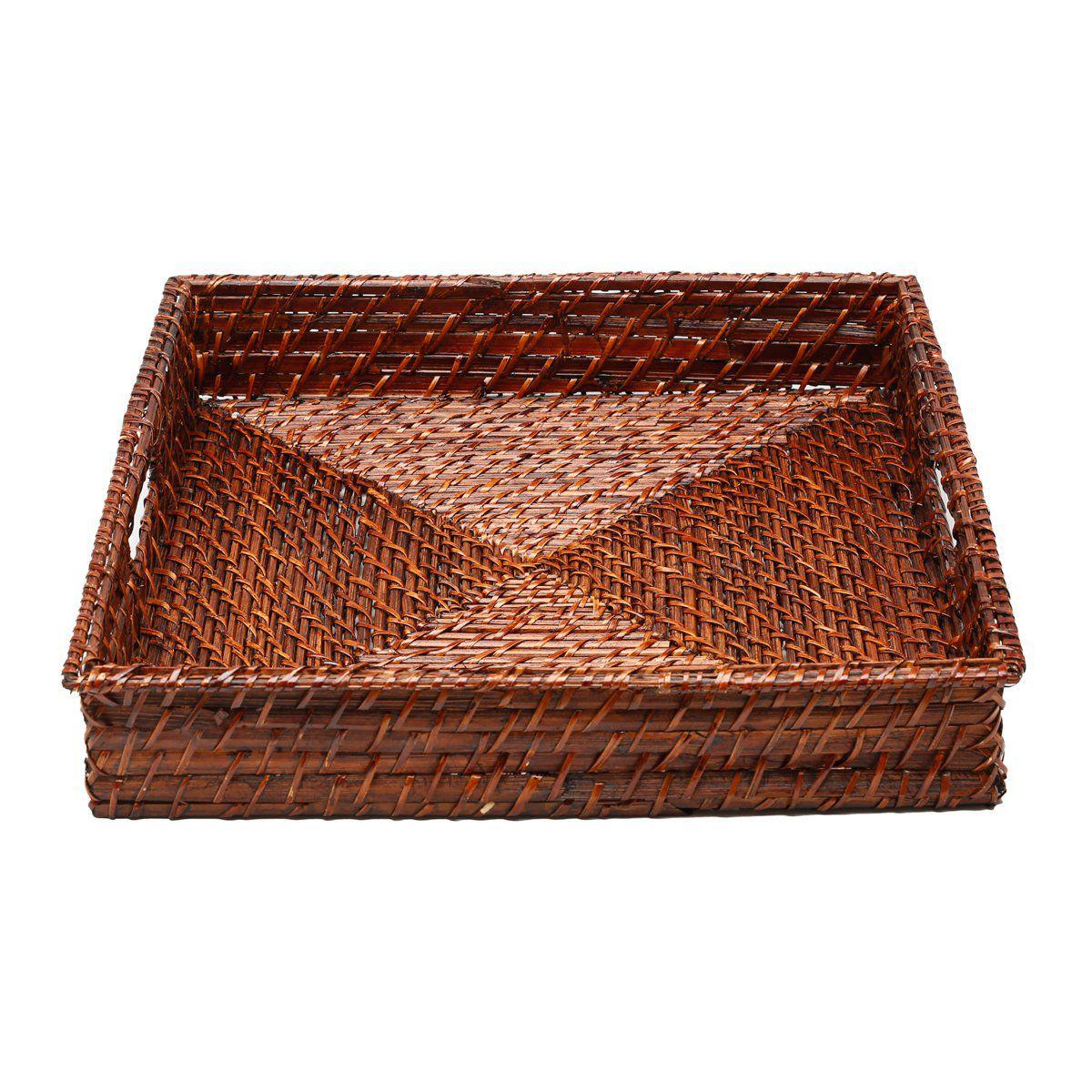 Conjunto 3 bandejas de rattan quadrado Bon Gourmet - 1068