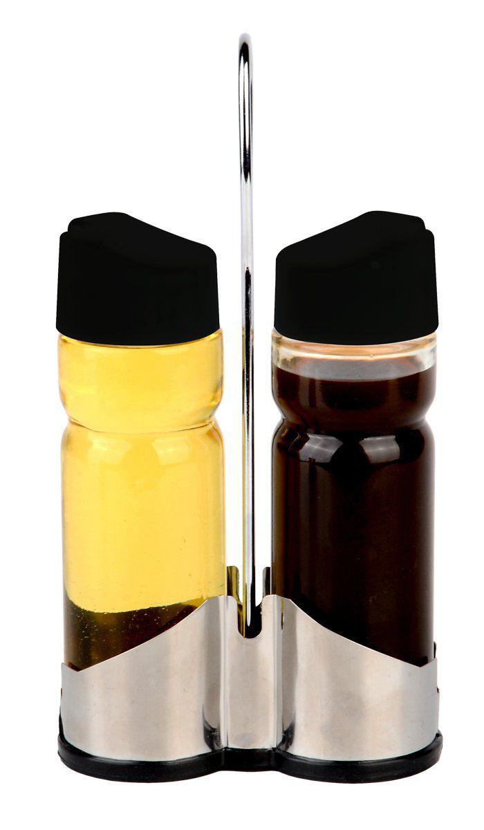 Conjunto 3 peças galheteiro de vidro com tampa de plástico e suporte de aço inox Donatello Bon Gourmet - 26894