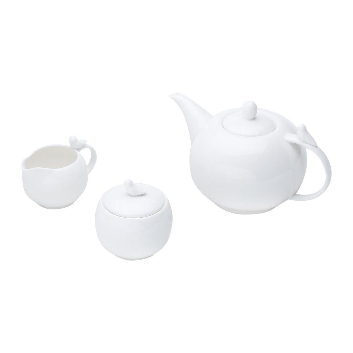 Conjunto 3 peças para café de porcelana branca Birds Wolff - 17238