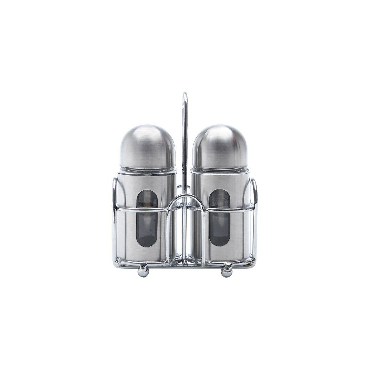 Conjunto 3 peças saleiro e pimenteiro de aço inox e vidro com suporte Round Bon Gourmet - 25797