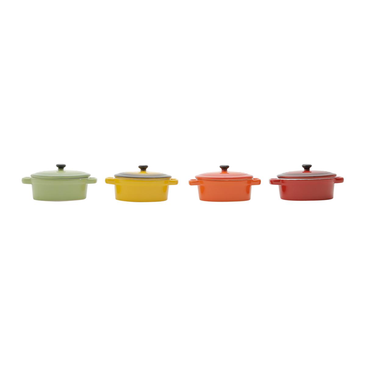 Conjunto 4 mini panelas  com tampa de porcelana coloridas Bon Gourmet - 30397