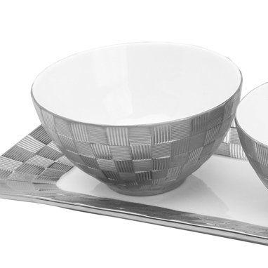 Conjunto 4 peças bandeja e petisqueiras de porcelana branca e prateada Vera Wolff - 17429