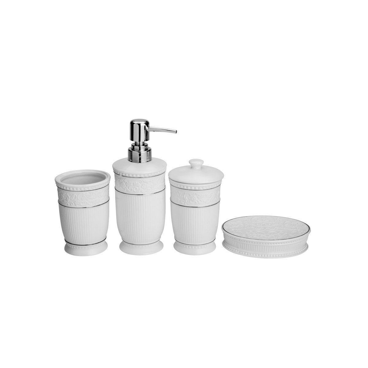 Conjunto 4 peças para banheiro de cerâmica branco e prata Majesty Lyor - L4119