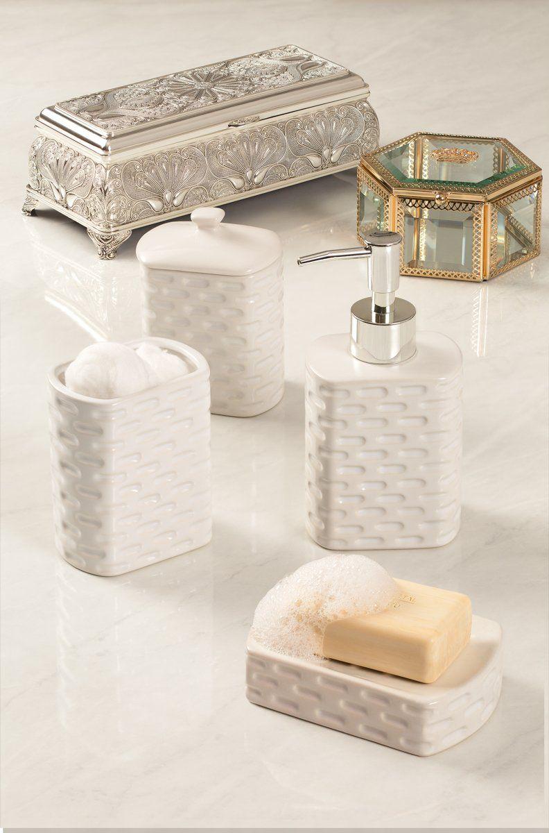 Conjunto 4 peças para banheiro de cerâmica branco Tiles Lyor - L2113