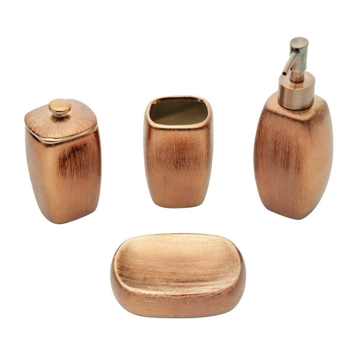 Conjunto 4 peças para banheiro de cerâmica bronze Lux Prestige - 26847