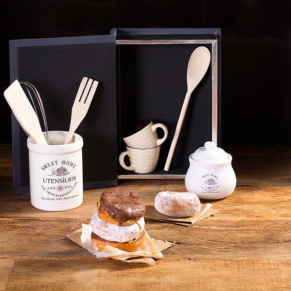 Conjunto 4 utensílios para cozinha com suporte de cerâmica Sweet Home Bon Gourmet - 3687
