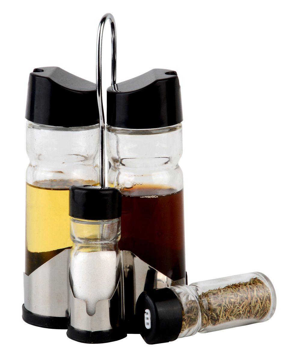 Conjunto 5 peças galheteiro de vidro com tampa de plástico e suporte de aço inox Donatello Bon Gourmet - 26893