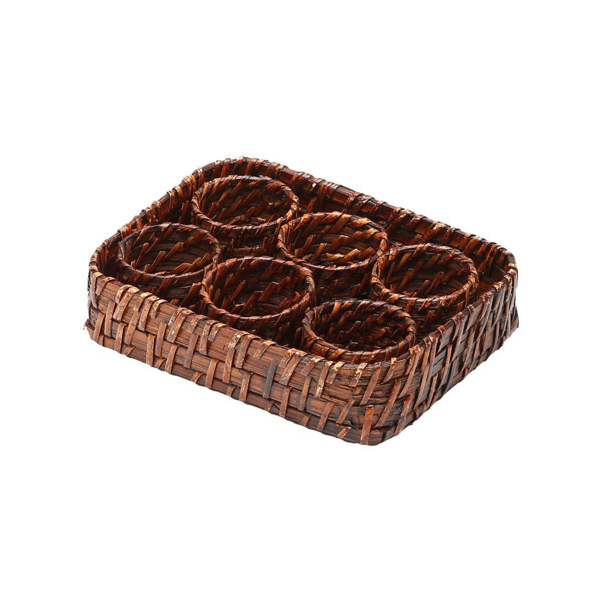 Conjunto 6 anéis para guardanapo de rattan com bandeja Bon Gourmet - 1062