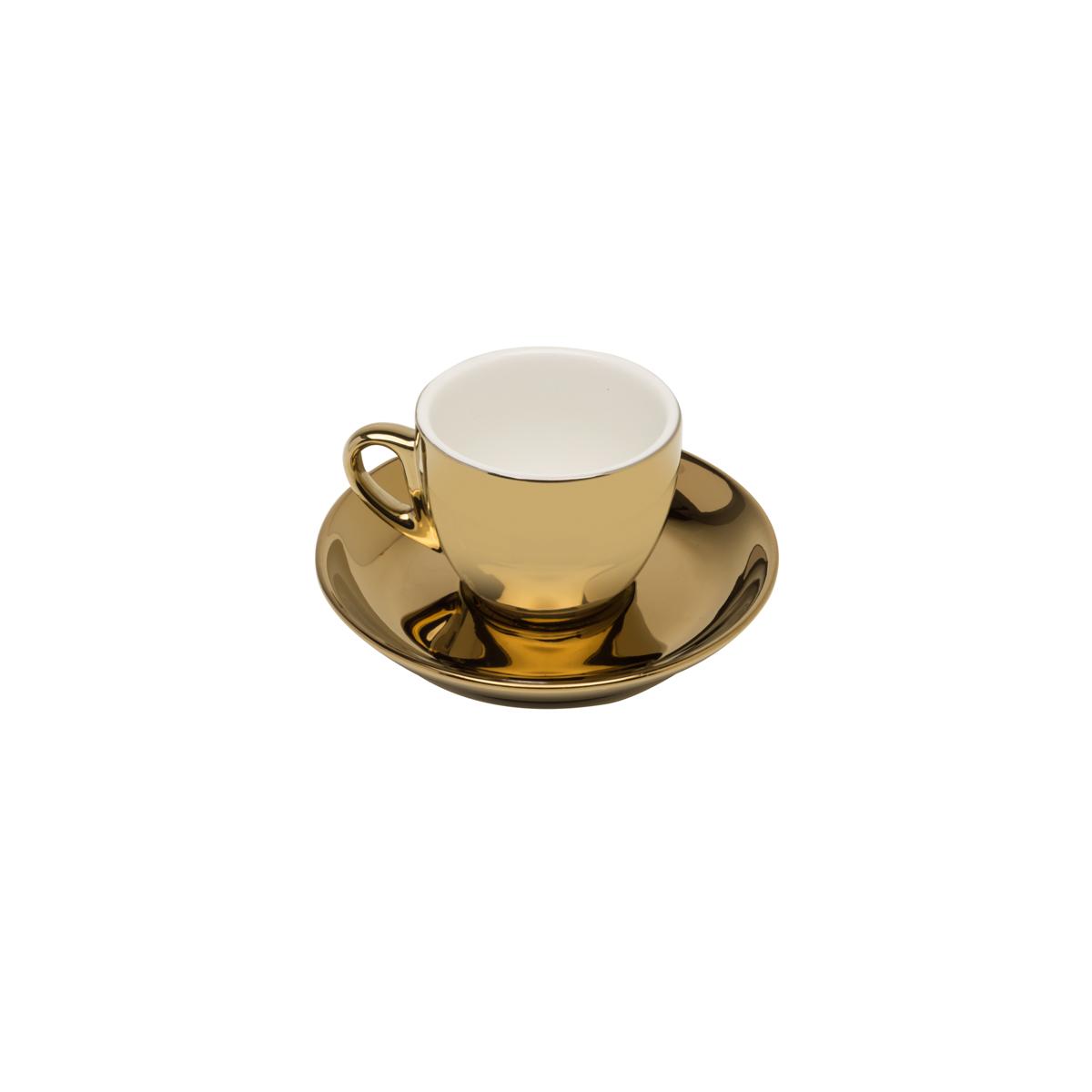 Conjunto 6 xícaras 90 ml para café de porcelana branca/dourado com pires Versa  Wolff - 17369