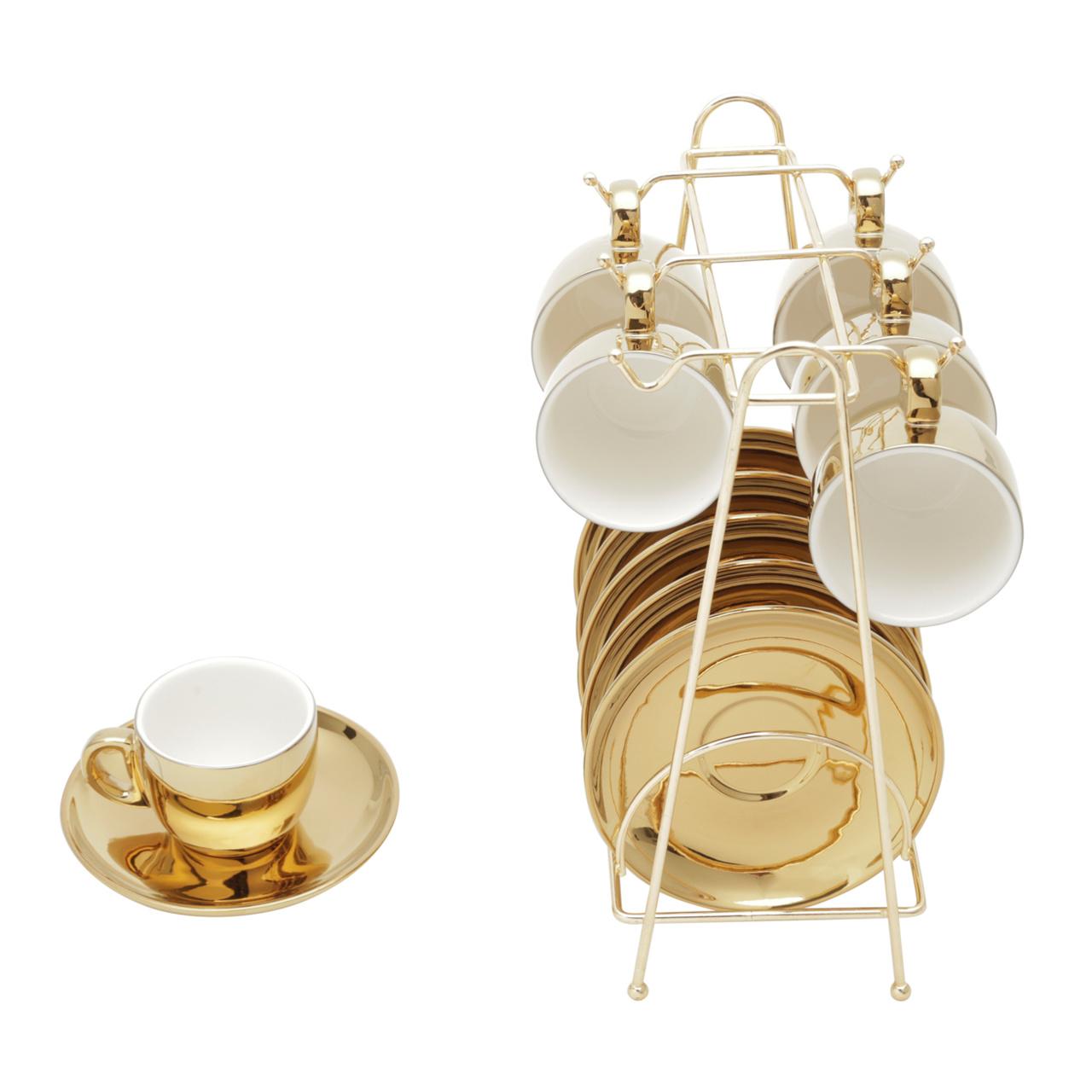 Conjunto 6 xícaras 90 ml para café de porcelana branco/dourado com pires e suporte Versa  Wolff - 35524