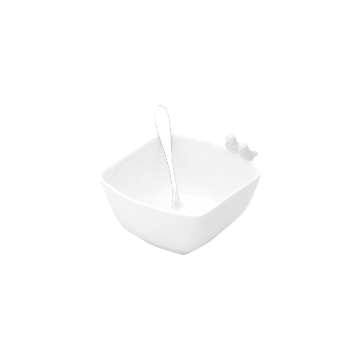 Conjunto 7 peças bandeja e petisqueira de porcelana branca com talheres de aço inox Birds Wolff - 17295