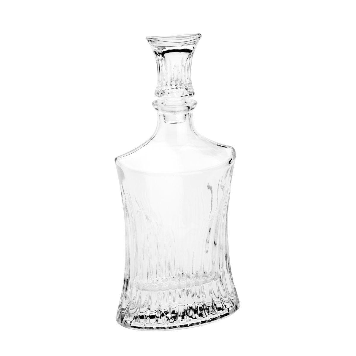 Conjunto 7 peças para whisky com 1 garrafa 550ml e 6 copos 240ml de cristal transparente Rojemac - 26643