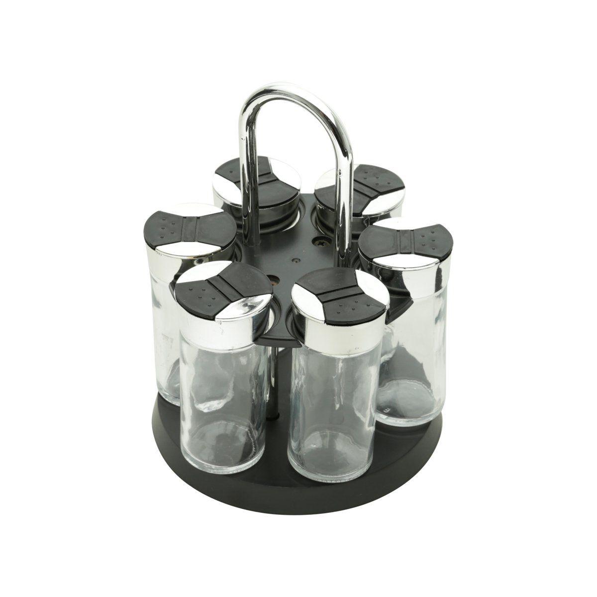 Conjunto 7 peças porta temperos de vidro com tampa de plástico e base giratória preta Luigi Bon Gourmet - 26889