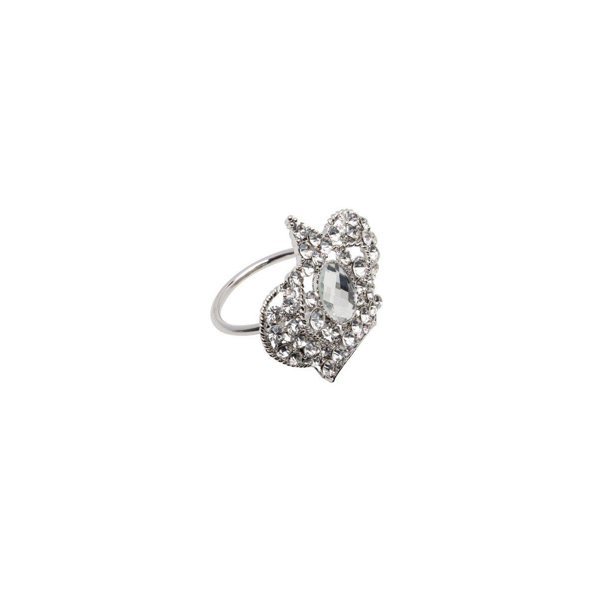 Jogo 4 anéis para guardanapo em zamac prateado Crown Prestige - 26514