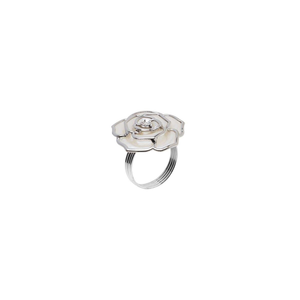 Jogo 4 anéis para guardanapo em zamac prateado Rose Prestige - 26516