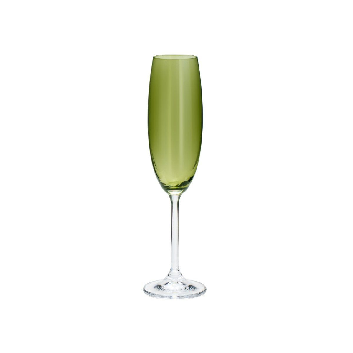 Jogo 6 taças 220ml para champagne de cristal ecológico verde Gastro/Colibri Bohemia - 35041