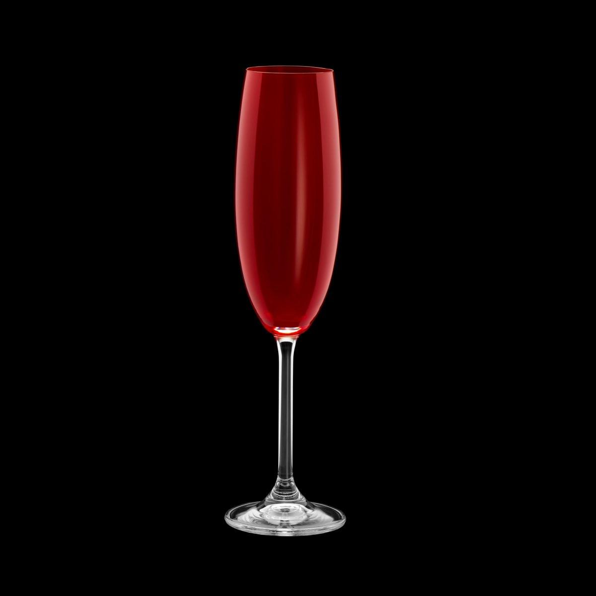 Jogo 6 taças 220ml para champagne de cristal ecológico rubi Gastro Bohemia - 35043
