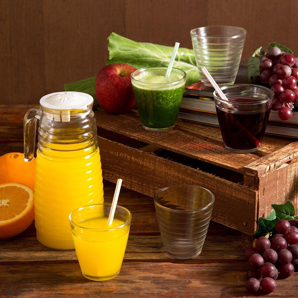 Conjunto Jarra 1,1 litros + 6 copos 250ml de vidro transparente Colméia Lyor - L6722