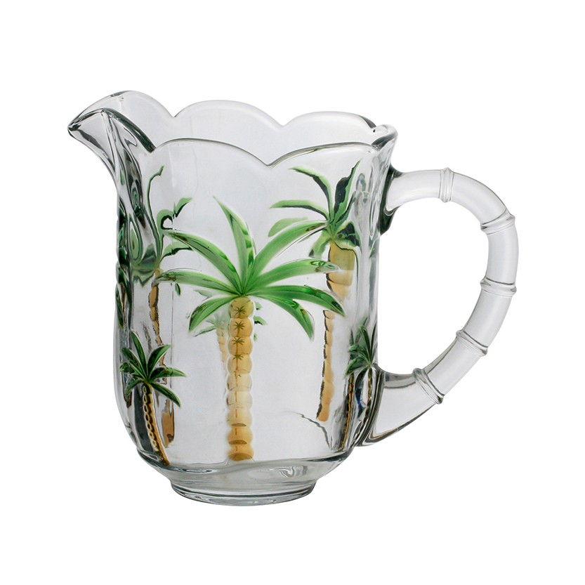Conjunto Jarra 1,3 litros + 6 taças 240ml de cristal Hand Painting Palm Lyor - L7787