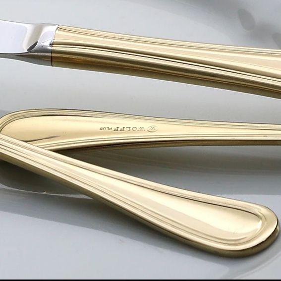 Faqueiro 30 peças de aço inox PVD Dourado com Gift Box Avalon Wolff - 71416