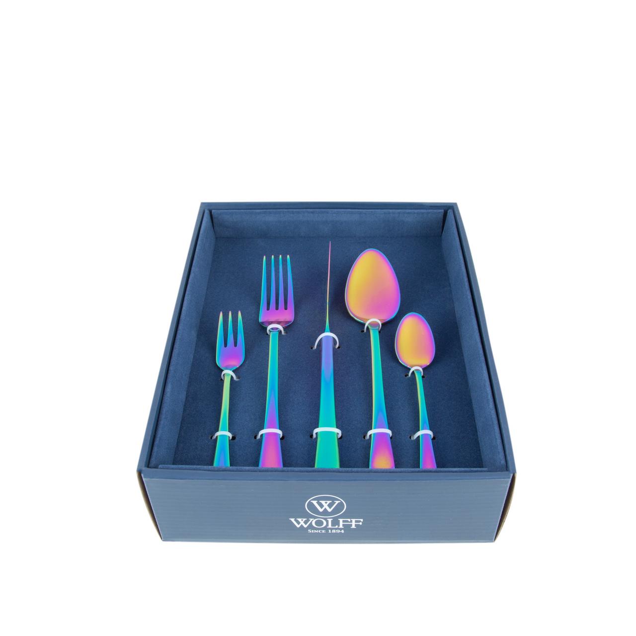 Faqueiro 30 peças de aço inox PVD Rainbow com Gift Box Berna Wolff - 71518