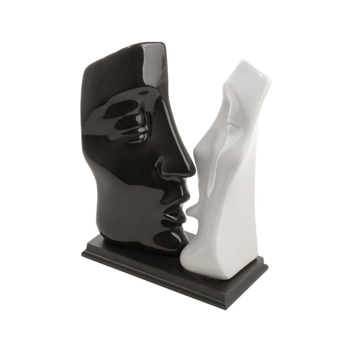 Estatueta 29,5 cm de cerâmica branco e preto Casal Namorados Beijo Prestige - 1816