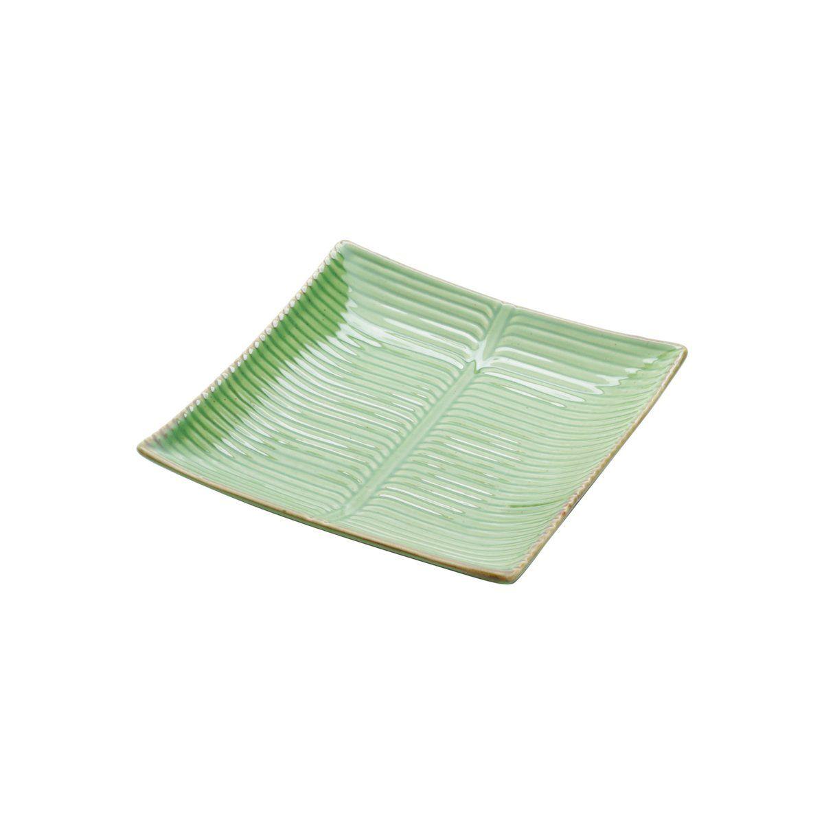 Prato decorativo 12 x 12 cm de cerâmica verde Banana Leaf Lyor - L4131