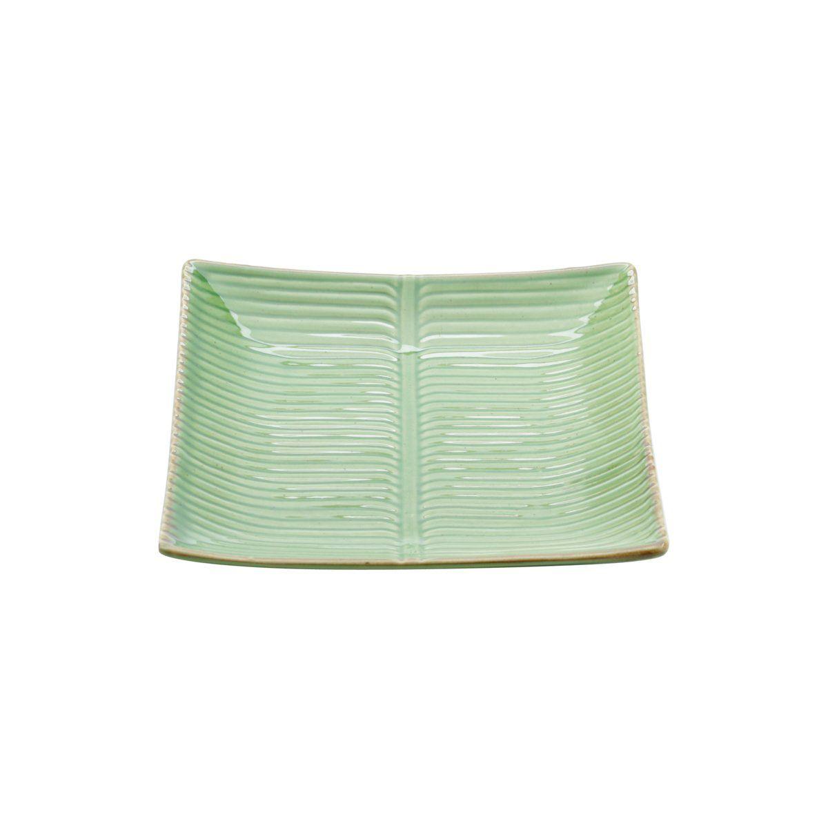 Prato decorativo 21,5 x 21,5 cm de cerâmica verde Banana Leaf Lyor - L4129