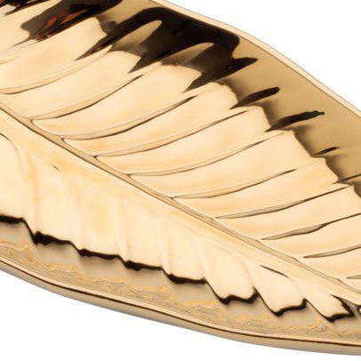 Folha decorativa 22 x 11,5 cm de porcelana dourada Anthurium Prestige - 26822