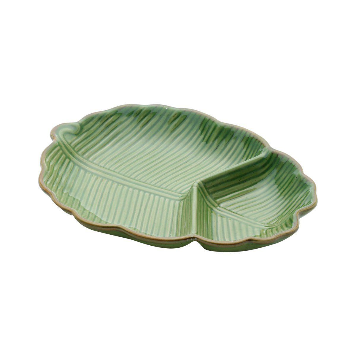 Prato decorativo 25,5 x 16 cm de cerâmica verde Banana Leaf Lyor - L4125