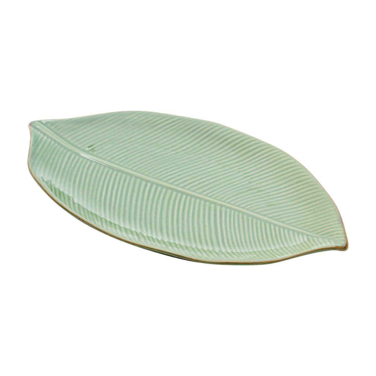 Prato decorativo 35,5 x 20,5 cm de cerâmica verde Banana Leaf Lyor - L4124