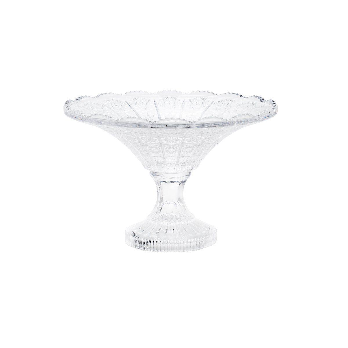 Fruteira 20 cm de cristal transparente com pé Starry Wolff - 25618