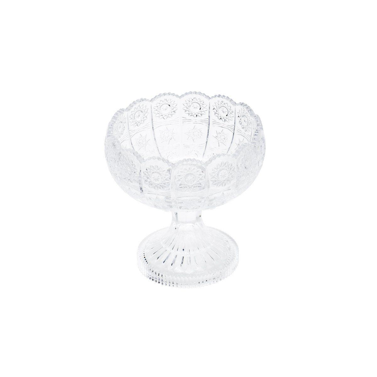 Fruteira 16,5 cm de cristal transparente com pé Starry Wolff - 25619