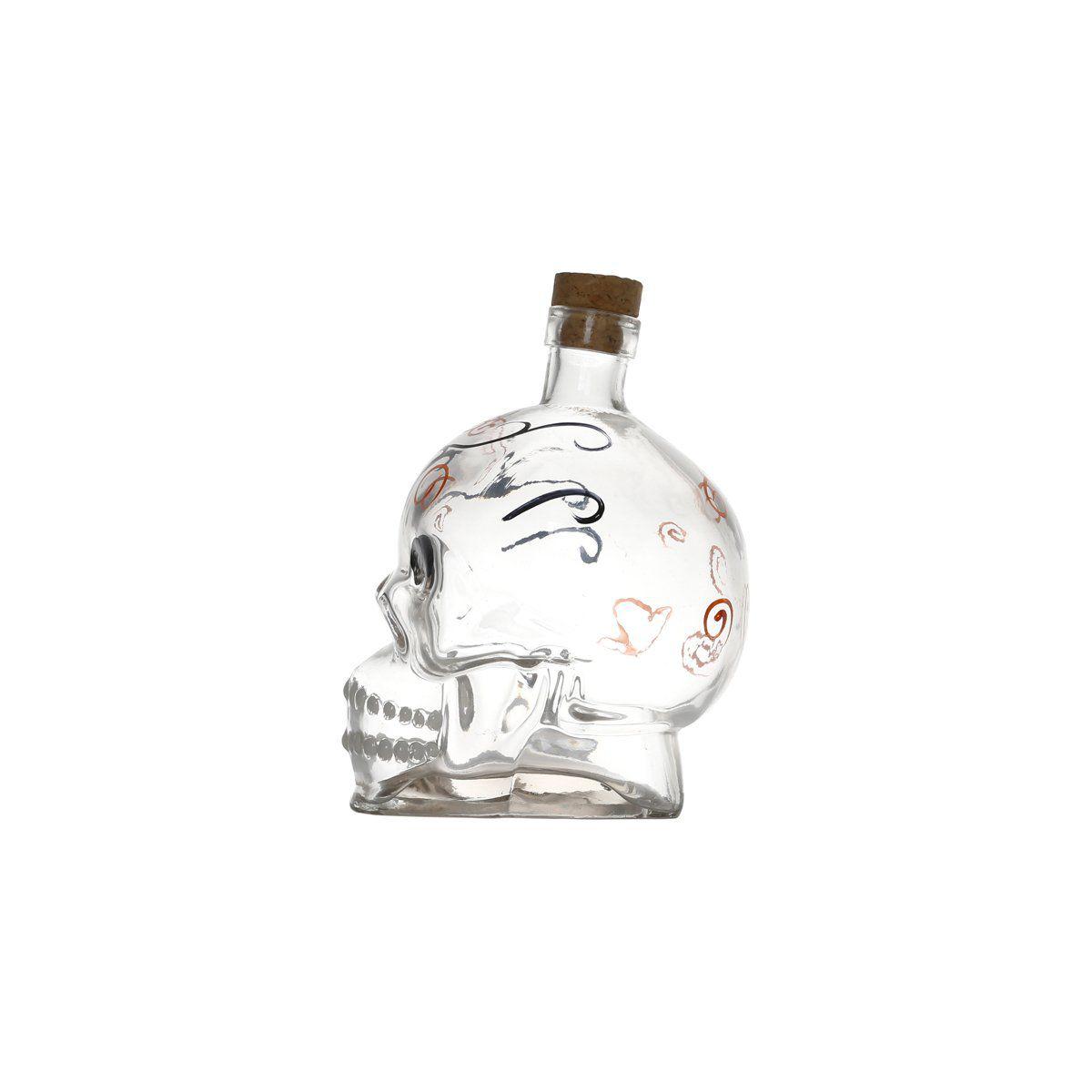 Garrafa 750ml para bebidas de vidro transparente Caveira Bon Gourmet - 25158